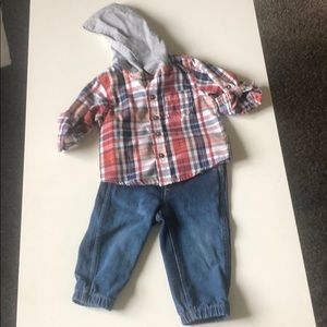 Hooded flannel button up and jeans outfit 6-9 mon